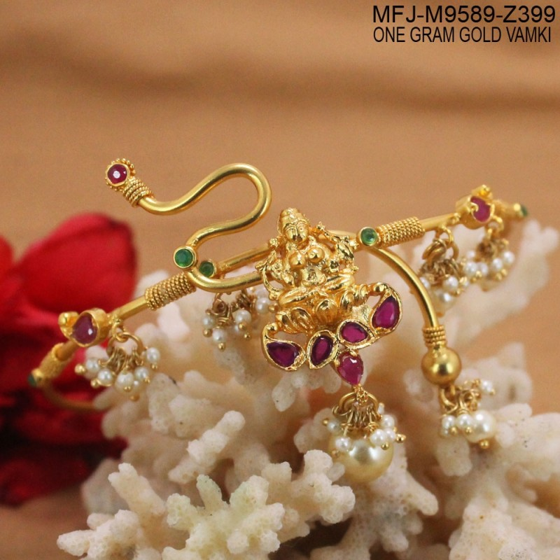 ruby amp emerald stones flowers design with pearls drop gold