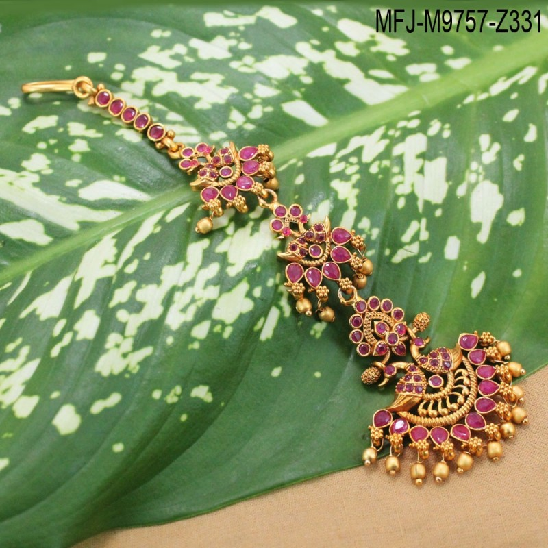 fafdd7360a ... Necklace Set Buy Online. 1 Gram Gold Dip Ruby & Emerald Stones Peacock  & Flowers Design With Pearl Drops Necklace