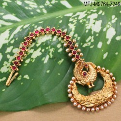 CZ & Ruby Stones Peacock Design Gold Plated Finish Vamki Buy Online