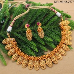 CZ, Ruby & Emerald Stones Leaves Design Gold Plated Finish Hip Chain Buy Online