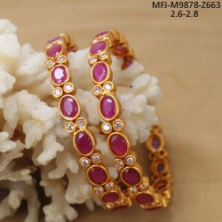 CZ Stones Leaves Design Gold Plated & Mat Finish Bracelet Buy Online