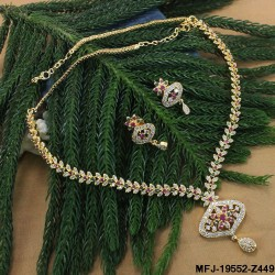 CZ, Ruby & Emerald Stones Peacock & Flowers Design Mat Finish Necklace Set Buy Online