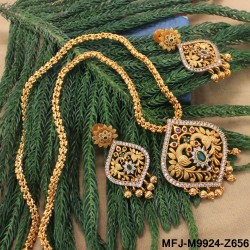 Gold Plated Finish Lakshmi Coins Designer Haram Set Online