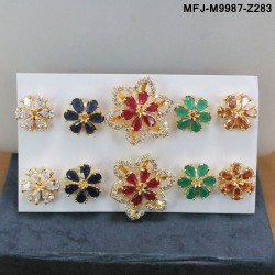 CZ & Ruby Stones Flowers Design With Ruby Drops Gold Plated Finish Vamki Buy Online
