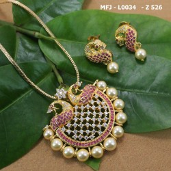 Ruby Stones Peacock Design With Pearl Drop Mat Finish Vamki Buy Online
