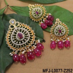 CZ & Ruby Stones Peacock & Flower Design With Pearl Drop Gold Plated Finish Vamki Buy Online