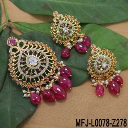 CZ, Ruby & Emerald Stones Peacock & Flower Design With Pearl Drop Gold Plated Finish Vamki Buy Online