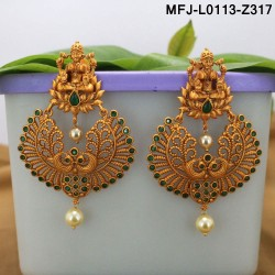 CZ & Ruby Stones Thilakam & Leaves Design With Pearls Drops Gold Plated Finish Vamki Buy Online
