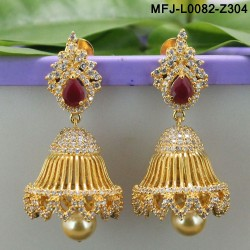 CZ & Ruby Stones Thilakam & Peacock Design With Pearls Gold Plated Finish Vamki Buy Online