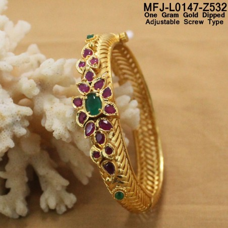 2.4 Size CZ & Ruby Stones Flowers Design Gold Plated Finish Bangles Buy Online