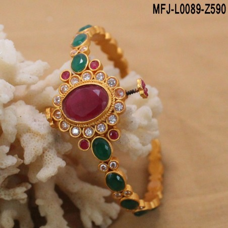 Mat Finish 3 Lines Chain With CZ & Ruby Stones Peacock Design Gold Plated Pendant Set Buy Online