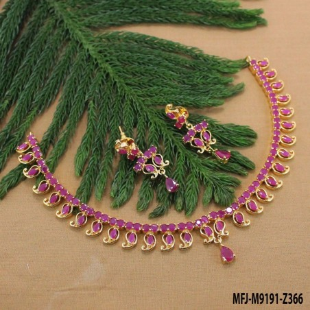 Ruby Stones Peacock & Flowers Design Mat Finish Necklace Set Buy Online