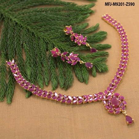 Ruby & Emerald Stones Peacock & Flowers Design Mat Finish Pearls Necklace Set Buy Online