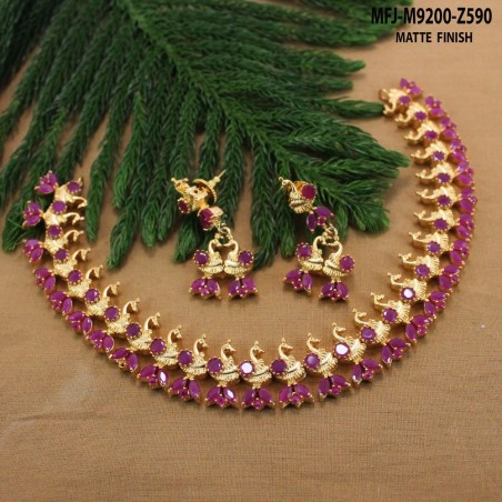 Ruby & Emerald Stones Lakshmi, Peacock & Flowers Design Mat Finish Choker Necklace Set Buy Online