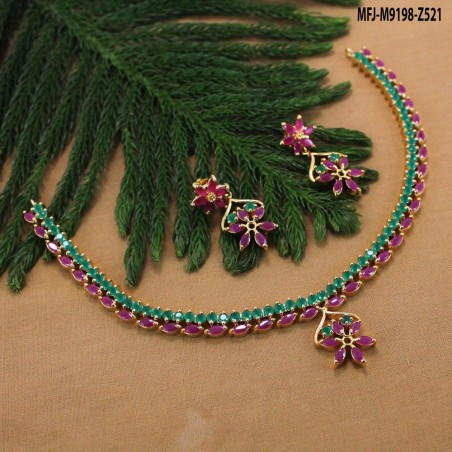 1 Gram Gold Dip Ruby Stones Lakshmi & Peacock Design Necklace Set Buy Online