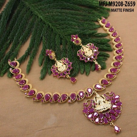CZ, Ruby & Emerald Stones Peacock, Flowers & Thilakam Design With Pearls Drops Gold Plated Finish Haram Set Buy Online