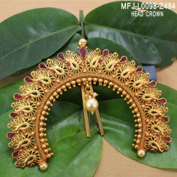 1 Gram Gold Dip Kempu, CZ & Emerald Stones Peacock, Flowers & Jhumki Design Haram Set Buy Online