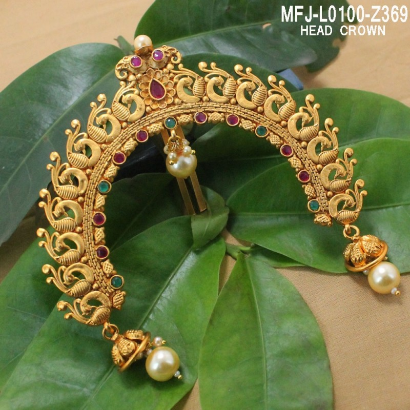 8d96b0bc1 CZ   Ruby Stones Peacock Design With Pearls Drops Gold Plated Finish Haram  Set Buy Online