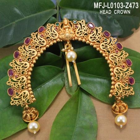 Ruby Stones Flowers & Leaves Design Gold Plated Finish Earrings Buy Online