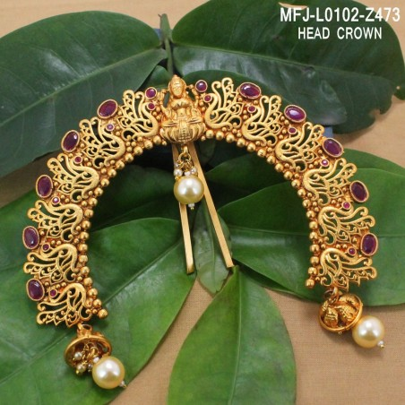 Ruby Stones Flowers & Leaves Design Gold Plated Finish Earrings Buy Online