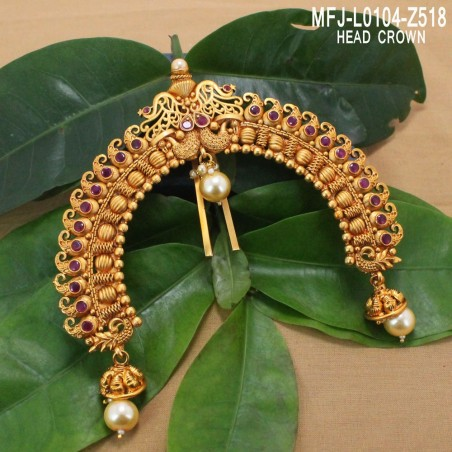 CZ & Ruby Stones Peacock Design With Pearls Gold Plated Finish Choker Necklace Set Buy Online