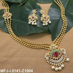 CZ, Ruby & Emerald Stones Flowers & Leaves Design With Pearls Drops Gold Plated Finish Headset Buy Online