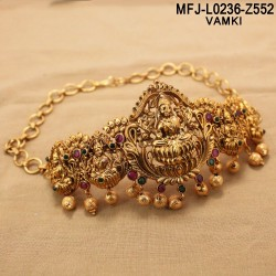 CZ & Ruby Stones Flowers & Leaves Design With Pearl Drop Gold Plated Finish Haram Set Buy Online