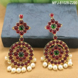 Ruby & Emerald Stones Lakshmi, Flowers & Leaves Design With Pearls Mat Finish Vamki Buy Online