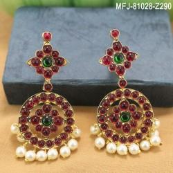 Ruby & Emerald Stones Lakshmi, Flowers & Leaves Design With Pearls Mat Finish Vamki Buy Online