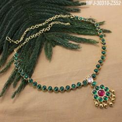 Ruby & Emerald Stones Lakshmi, Peacock & Thilakam Design Mat Finish Haram Set Buy Online