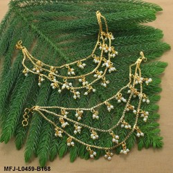 Kempu Stones Single Line & Flower Design With Pearls Drops Gold Plated Finish Necklace Buy Online