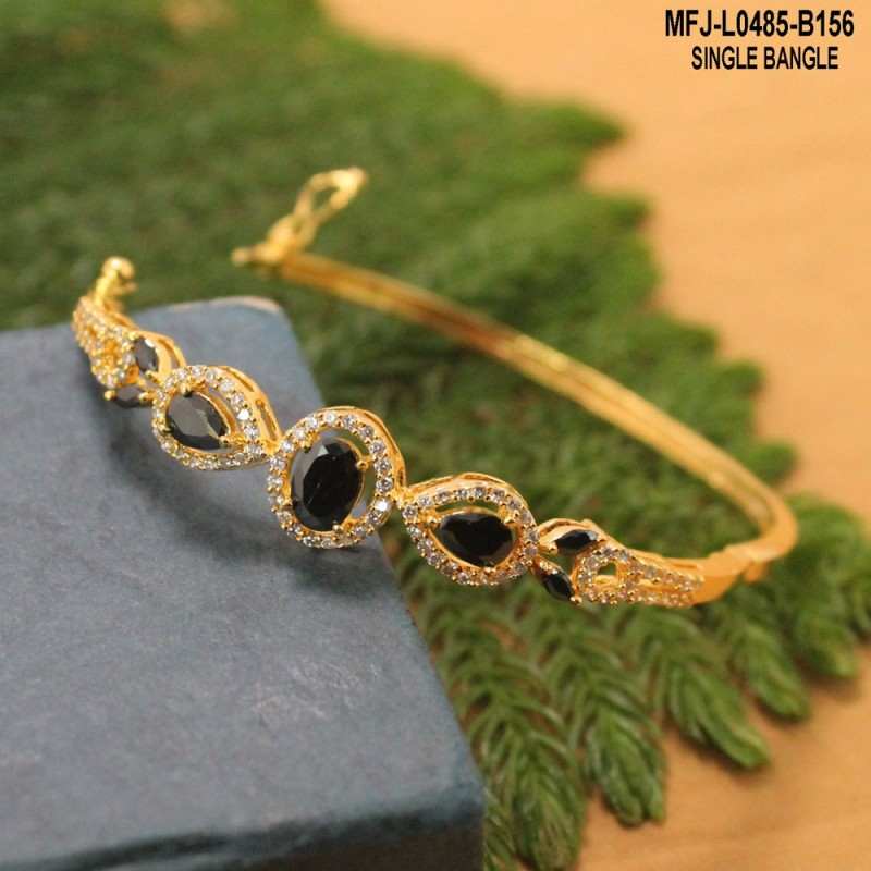 56bee313b30 2.4 Size Oval Shaped CZ Stones Single Line Design Gold Plated Finish Two  Set Bangles Buy