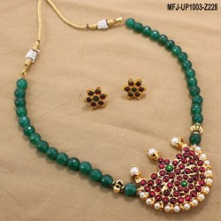 Ruby Stones Lakshmi Coins Design With Pearls Drops Antic Necklace Set Buy Online