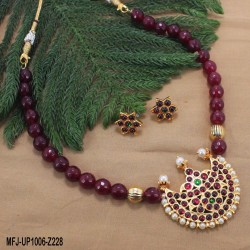 CZ, Ruby & Emerald Stones Flowers Design With Pearls Drops Gold Plated Finish Anklet Set Online