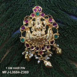 1 Gram Gold Dip Ruby & Emerald Stones Lakshmi & Flowers Design Vamki Buy Online