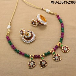 Kempu & Multicolour Stones With Pearls Drops Mango & Flowers Design Haram For Bharatanatyam Dance And Temple Buy Online