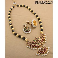 Multicolour Stones With Enamel Mango Design Neclace For Bharatanatyam Dance And Temple Buy Online