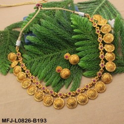 CZ & Ruby Stones Flowers & Leaves Design Gold Plated Finish Necklace Set Buy Online