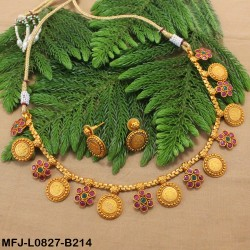 Emerald Stones Single Line Design With Pearls Drops Gold Plated Finish Necklace Set Buy Online