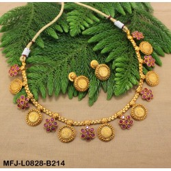 Ruby & Emerald Stones Flowers & Leaves Design With Drops Gold Plated Finish Pendant Buy Online