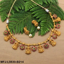 Red & Green Colour Stones Lakshmi Design With Drops Gold Plated Finish Pendant Buy Online