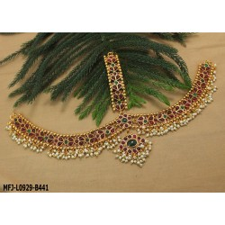 Ruby & Emerald Stones Mango & Lakshmi Design With Pearls Drops Mat Finish Hair Clip Buy Online