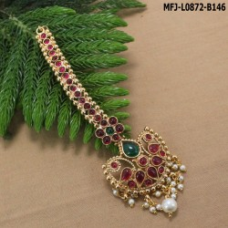0.300 GM Gold Dip 24 Inches Chain With CZ & Ruby Stones Side Balls Pendant Buy Online