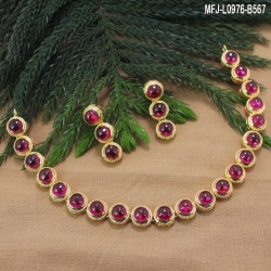 CZ Stones Flower Design With Pearls Gold Plated Finish Pendant Set With Chain Buy Online