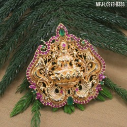 CZ & Ruby Stones Peacock & Flowers Design With Pearls Gold Plated Finish Pendant Set With Chain Buy Online
