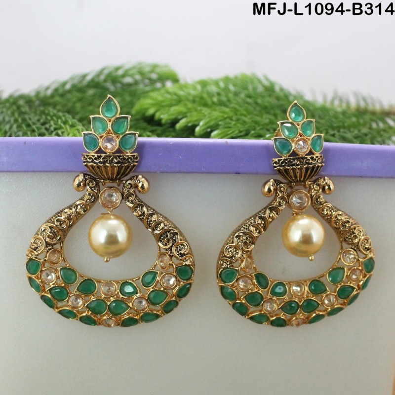 Ruby Emerald Stones Flowers Design Gold Plated Finish Earrings Online