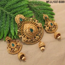 Ruby & Emerald Stones With Pearls Drops Peacock & Mango Design Mat Finish Jada Set Buy Online