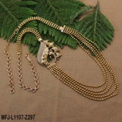 CZ Stones Mango Design With CZ Drop Gold Plated Finish Necklace Set Buy Online