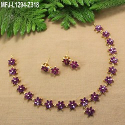 Ruby Stones Leaves & Thilakam Design With Ruby Drop Gold Plated Finish Necklace Set Buy Online