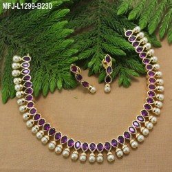 Ruby Stones Leaves & Thilakam Design Gold Plated Finish Necklace Set Buy Online